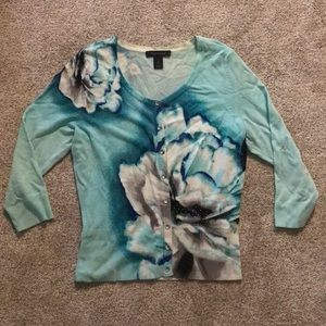 EUC WHBM size small teal floral cardigan